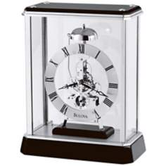 "Vantage Black and Chrome 10"" High Bulova Table Clock"