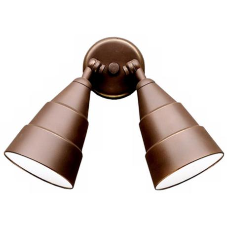 Wet Location Bronze Finish Double Outdoor Floodlight