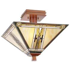 "Walnut Mission Collection 14"" Wide Ceiling Light Fixture"