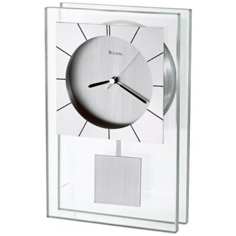 "Insight Black and Aluminum 9 3/4"" High Bulova Table Clock"