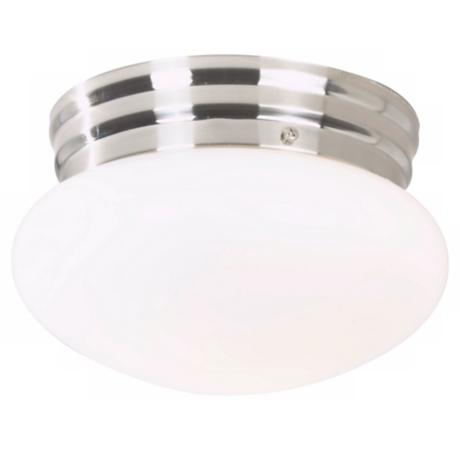 "Mushroom Brushed Steel 8"" Wide Ceiling Fixture"