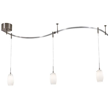 Etched Opal Glass Brushed Nickel 3-Light Pendant Rail Kit