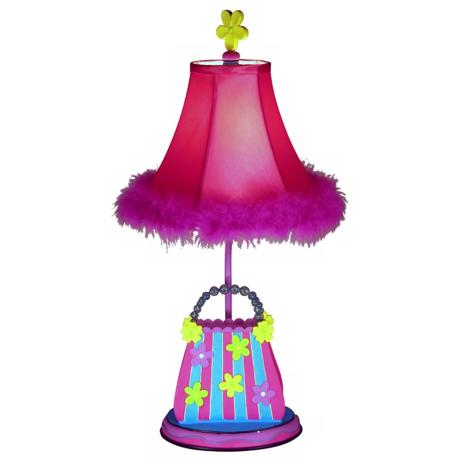 Striped Flower Purse Table Lamp with Pink Feather Shade