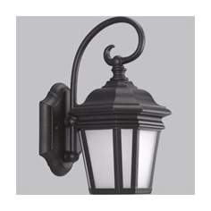 "Black and Frosted Glass 12 1/2"" High Outdoor Wall Light"