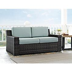 Beaufort Mist Light Blue and Brown Wicker Outdoor Loveseat
