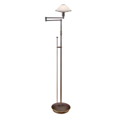 Holtkoetter Old Bronze True White Glass Swing Arm Floor Lamp