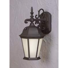 "Black and Frosted Glass 18 1/4"" High Outdoor Wall Light"