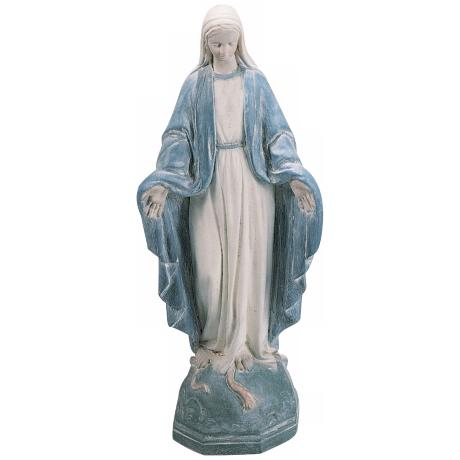 Small Blue White Madonna Garden Accent