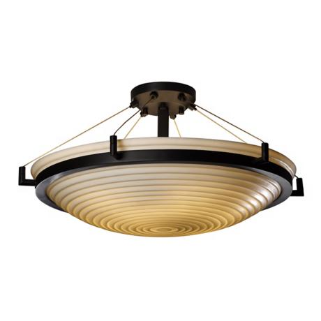 "Porcelina Sawtooth Bronze 20 1/2"" Wide Ceiling Light"