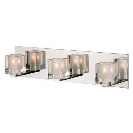 Blocs Collection Chrome Mirror Three Light Bath Bar Fixture