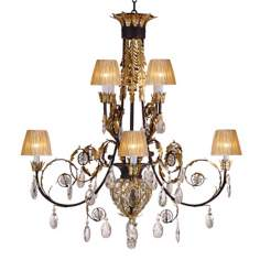Rust and Gold Leaf Crystal Chandelier