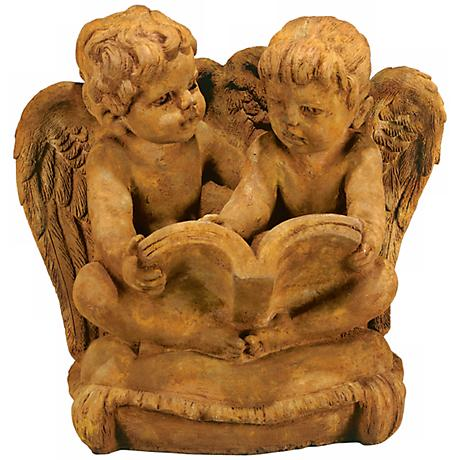 "Two Cherubs Reading 15 1/2""W Garden Accent Sculpture"