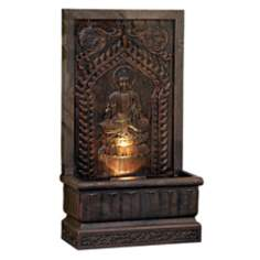 Sitting Buddha Panel Natural Finish Fountain