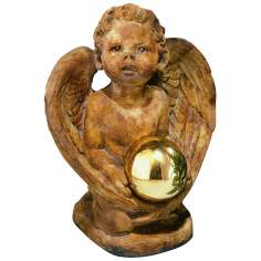 Winged Angel with Gazing Globe Garden Sculpture