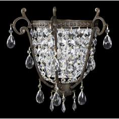 "Parisian Iron and Crystal 14"" Wide Pocket  Wall Sconce"