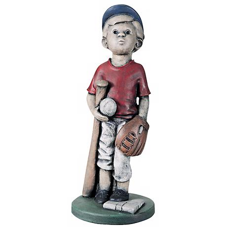 "Little Boy Baseball Player 24""H Yard Decor Garden Sculpture"