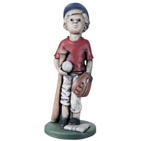 Little Boy Baseball Player Yard Decor Garden Sculpture