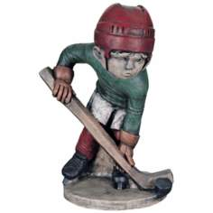 Little Boy Hockey Player Yard Decor Garden Sculpture