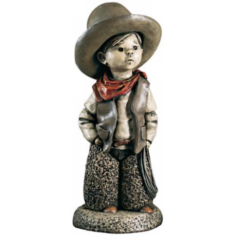 Little Boy Cowboy Yard Decor Garden Sculpture