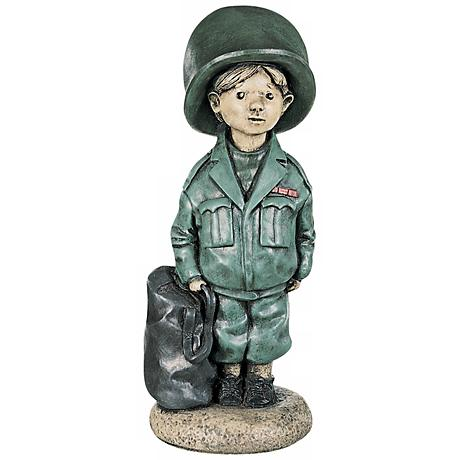 "Little Boy Soldier 18"" High Yard Decor Garden Sculpture"