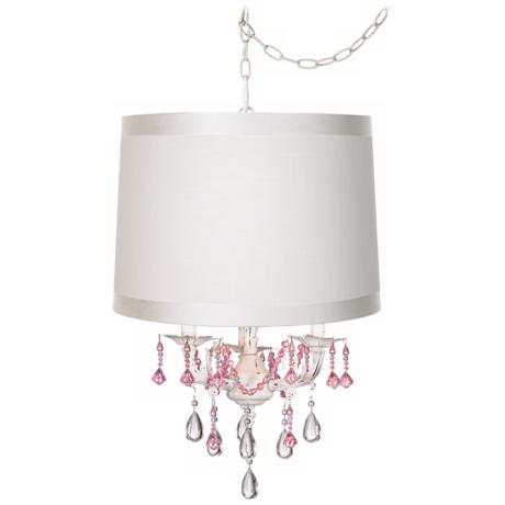 Pretty in Pink Designer Drum Shade Plug-In Chandelier