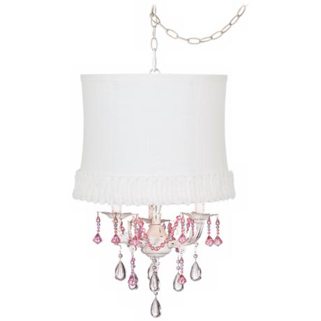 Pretty in Pink Designer White Shade Swag Chandelier