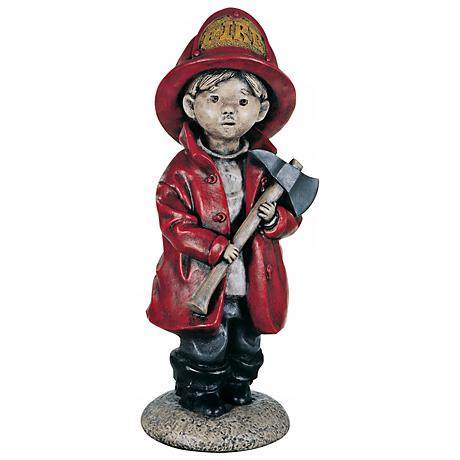 "Little Firefighter 18 1/2"" High Yard Decor Garden Sculpture"