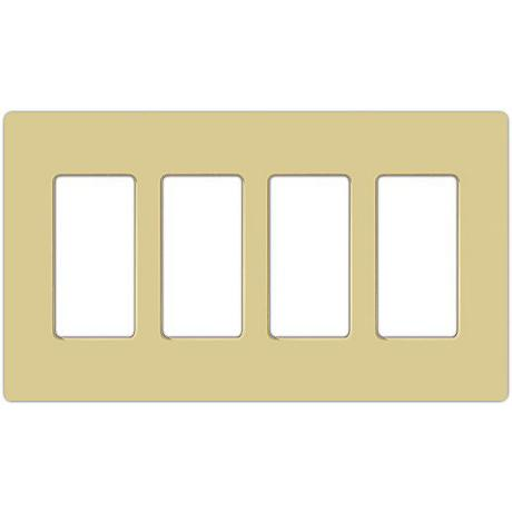 Lutron Claro Ivory 4 Gang Screwless Faceplate