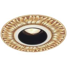 "Juno 6"" Black Alzak Recessed Trim with Florentine Medallion"