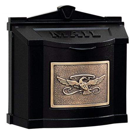 Black with Antique Bronze Wall Mount Mailbox