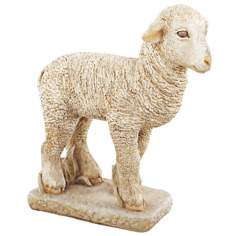 Faux Stone Lamb Garden Sculpture
