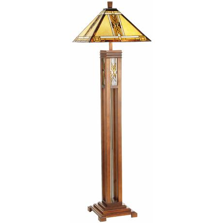 Walnut Mission Tiffany Style Night Light Floor Lamp