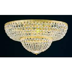 "Schonbek Gold Legacy Crystal 24"" Wide Ceiling Light Fixture"