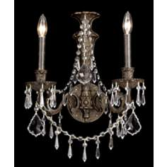 Parisian Iron and Crystal Two Light Wall Sconce