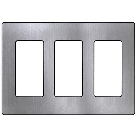 Lutron Claro 3 Gang Stainless Steel Screwless Faceplate