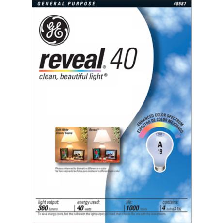 GE 4-Pack 40 Watt Reveal Light Bulbs