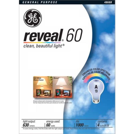 GE Reveal 4-Pack 60 Watt Light Bulbs