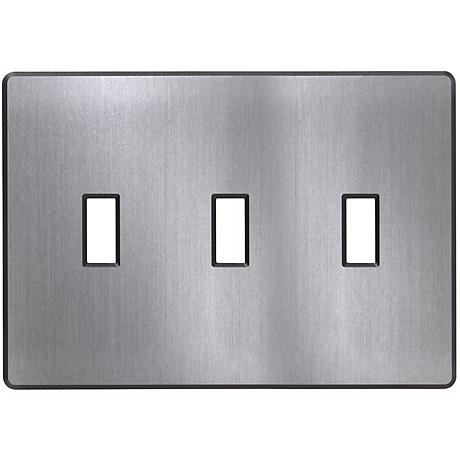 Lutron Fassada 3 Gang Screwless Stainless Steel Wallplate