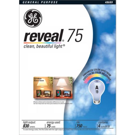GE 75 Watt A-19 Reveal 4-Pack Light Bulb