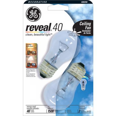 GE Reveal Clear 40 Watt 2-Pack Ceiling Fan Light Bulbs