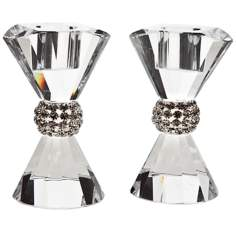 Set of 2 Godinger Pageant Bling Crystal Candlesticks