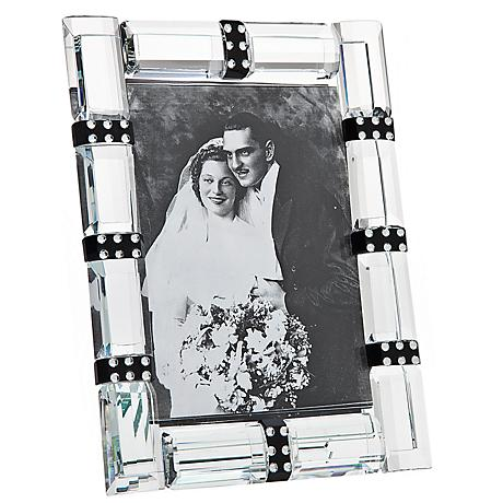 "Godinger Cherish 4""x6"" Banded Crystal Photo Frame"
