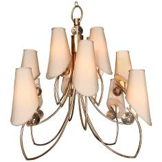 "Free Wheeling 24"" Wide Golden Ochre Tan Chandelier"