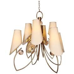 "Amnesia Strategy 37"" Wide Weathered Gold Chandelier"