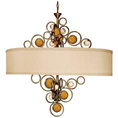 "Free Wheeling 36"" Wide Golden Ochre Oval Chandelier"