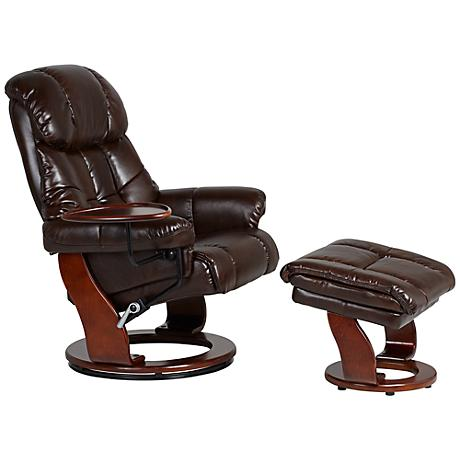 Java Bonded Leather Swivel Recliner with Matching Ottoman