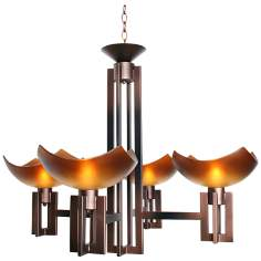 "On Line 35"" Wide Copper and Black Chandelier"