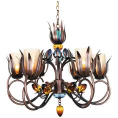 "Dance of Fire D'Ana 30"" Wide Copper and Black Chandelier"