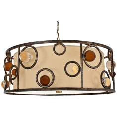 "Free Wheeling 26"" Wide Golden Ochre Drum Pendant Light"