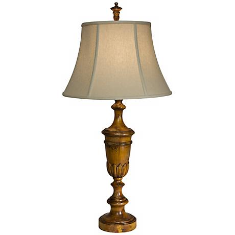 Natural Light Floret Trophy Tuscan Wood Table Lamp